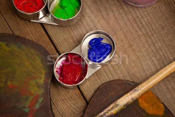 Palety wielokrotność kolory akwarela farby edukacji Zdjęcia stock © wavebreak_media