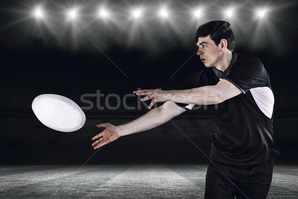 összetett kép rögbi játékos oldal passz Stock fotó © wavebreak_media