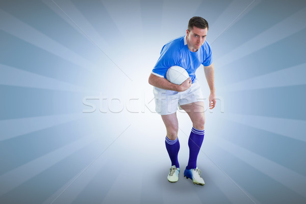 Composite image of rugby player doing a side pass Stock photo © wavebreak_media