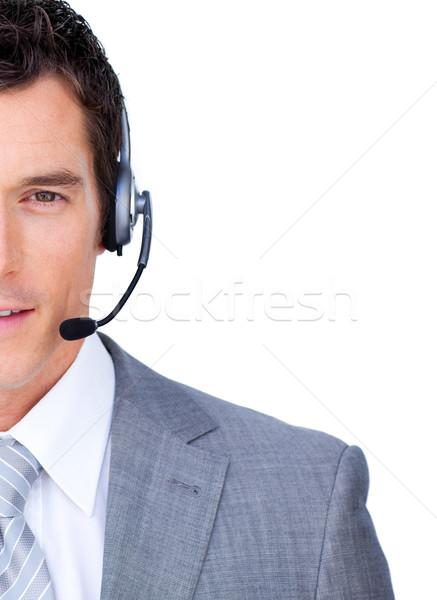 бизнесмен гарнитура белый бизнеса улыбка Сток-фото © wavebreak_media