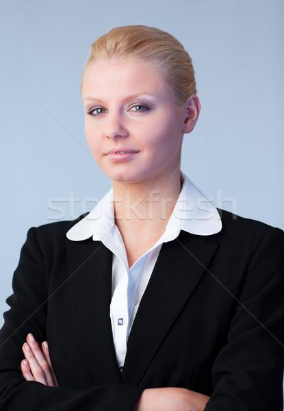 Mujer de negocios doblado armas jóvenes oficina cara Foto stock © wavebreak_media