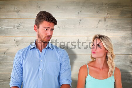 Adorable couple having fun together in the living-room Stock photo © wavebreak_media