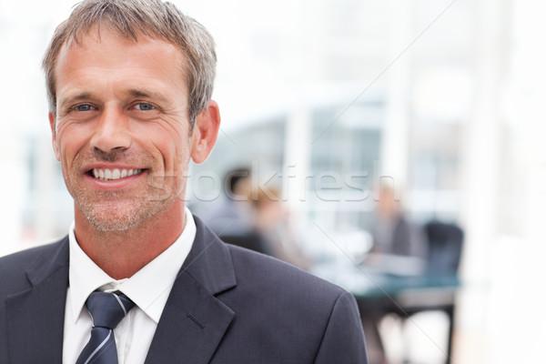 Glimlachend zakenman kantoor glimlach vergadering werk Stockfoto © wavebreak_media