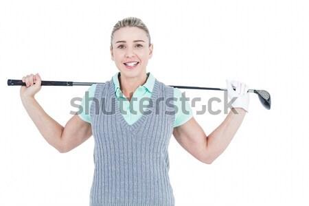 Bonne recherche femme posant pouce up permanent Photo stock © wavebreak_media