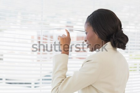 Stok fotoğraf: Kadın · dışarı · pencere · ofis · yüz