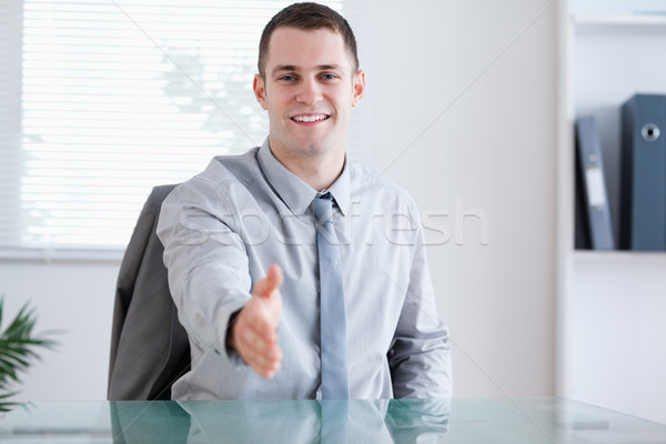 Smiling businessman greeting his negotiation partner sitting behind a table Stock photo © wavebreak_media