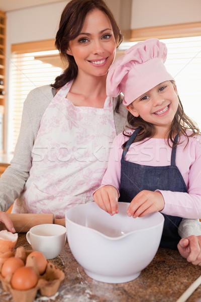 Retrato mãe filha cozinha meninas Foto stock © wavebreak_media