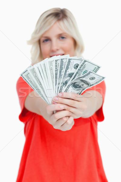 Ventillátor dollár jegyzetek nő fehér pénz Stock fotó © wavebreak_media