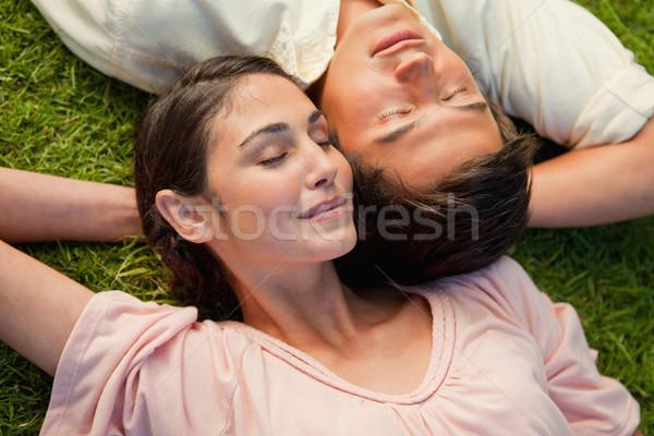 Férfi nő csukott szemmel fej váll karok Stock fotó © wavebreak_media