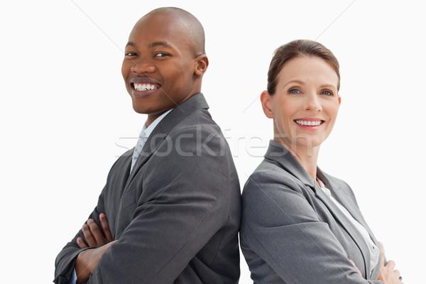 деловой человек женщину улыбаясь рук заседание счастливым Сток-фото © wavebreak_media