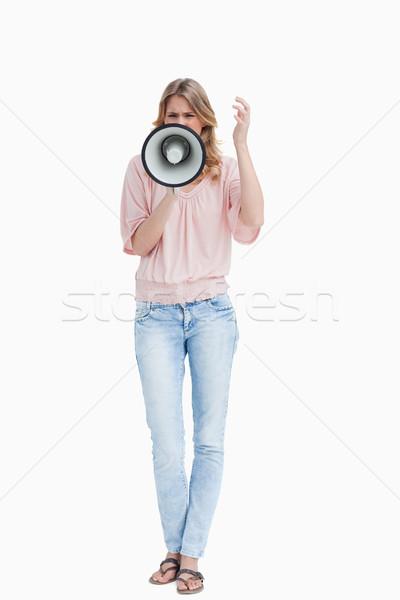 Elöl kilátás nő kiált megafon fehér Stock fotó © wavebreak_media