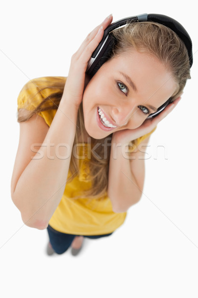 Halszem kilátás szőke nő lány visel fejhallgató Stock fotó © wavebreak_media