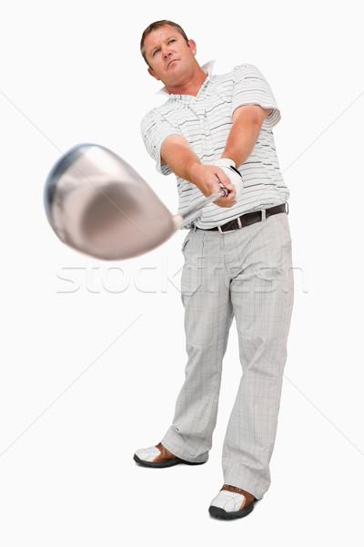 Golfçü kulüp beyaz spor oynamak sürmek Stok fotoğraf © wavebreak_media
