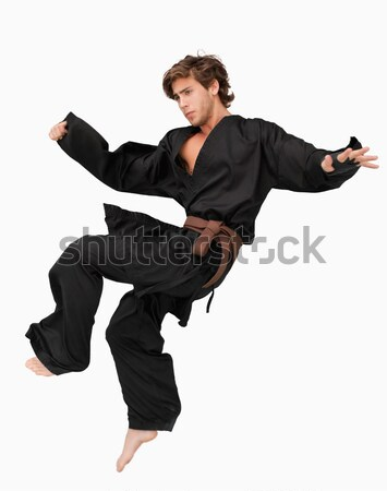 Martial arts fighter performing a jump kick against a white background Stock photo © wavebreak_media