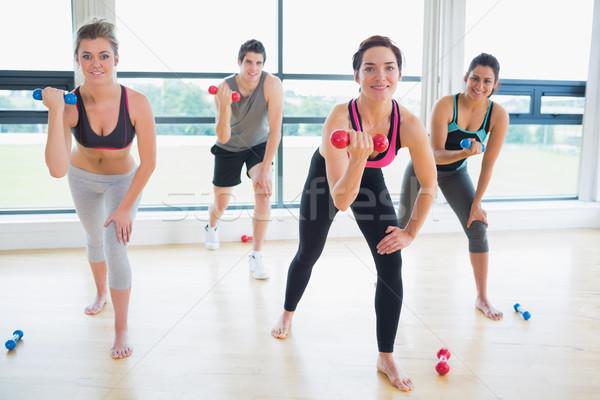 Souriant personnes aérobic classe fitness Photo stock © wavebreak_media
