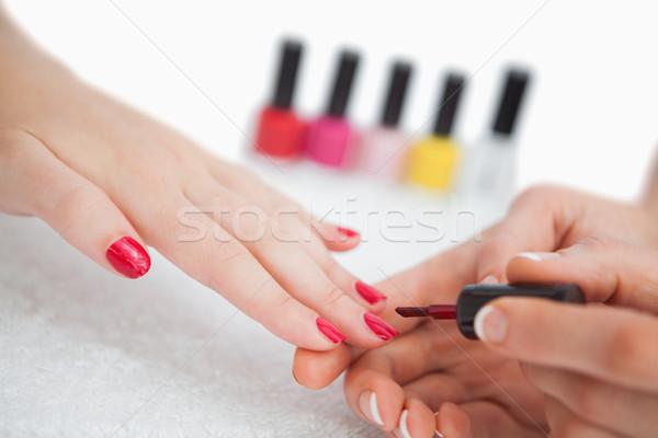 Nő jelentkezik szög fényezés ujj körmök Stock fotó © wavebreak_media