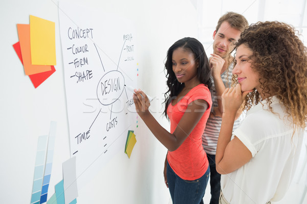 Designer writing a flowchart on whiteboard while colleagues watc Stock photo © wavebreak_media