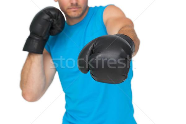 Mężczyzna bokser koncentruje szkolenia Zdjęcia stock © wavebreak_media