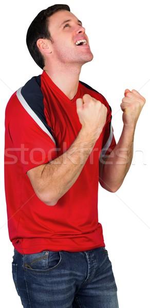 Juichen voetbal fan Rood witte man Stockfoto © wavebreak_media