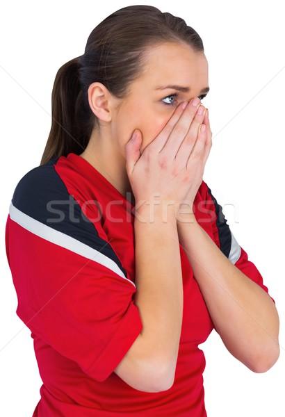 Nerveus voetbal fan Rood witte sport Stockfoto © wavebreak_media