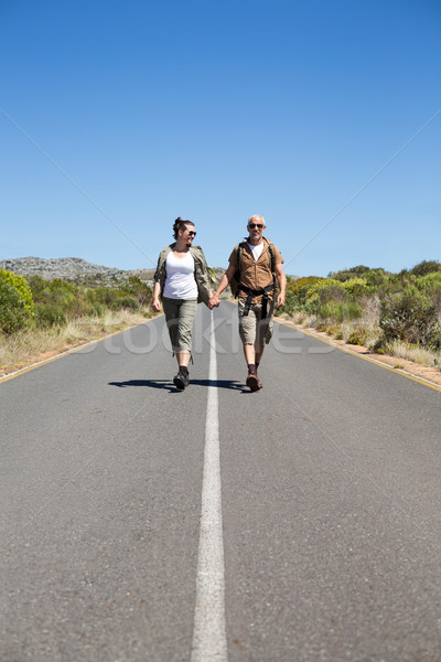Hitch hiking couple holding hands on the road smiling at camera Stock photo © wavebreak_media