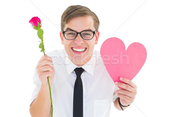 Kırmızı gül kalp kart beyaz Stok fotoğraf © wavebreak_media