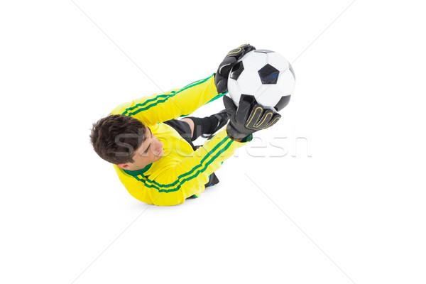Portero amarillo pelota blanco fútbol Foto stock © wavebreak_media