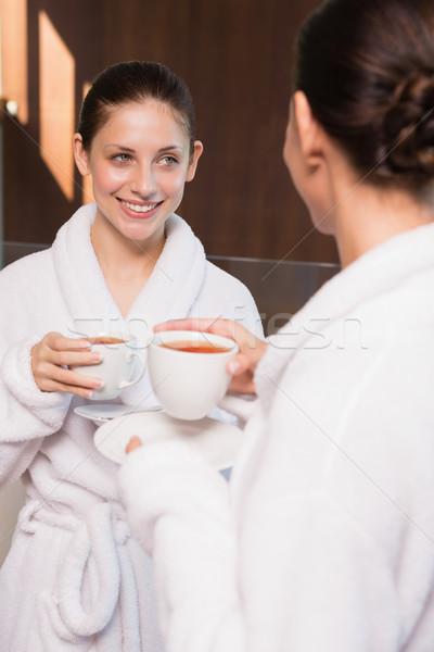 Nők tea kettő mosolyog fiatal nők ital Stock fotó © wavebreak_media