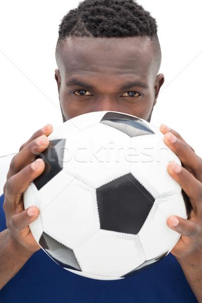 Stock fotó: Közelkép · portré · komoly · futballista · fehér · futball