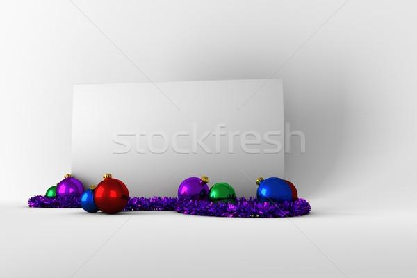 Stockfoto: Poster · kleurrijk · christmas · decoraties · witte · digitale