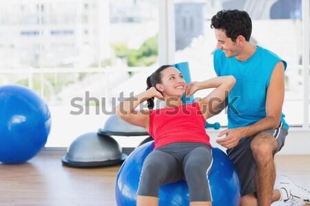 Personal trainer çalışma müşteri egzersiz top spor salonu Stok fotoğraf © wavebreak_media