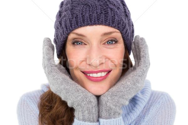 Zdjęcia stock: Dość · ciepłe · ubrania · biały · kobieta · kobiet