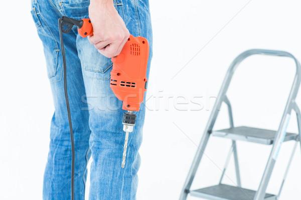 Lavoratore trapano passo scala immagine Foto d'archivio © wavebreak_media