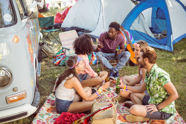 Hipsters having fun in their campsite Stock photo © wavebreak_media