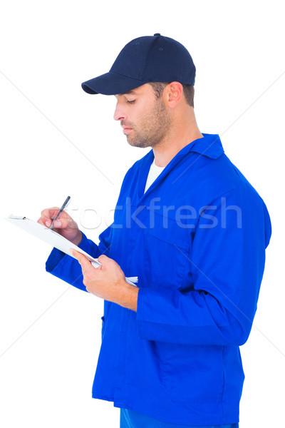 Foto stock: Mecánico · escrito · portapapeles · blanco · masculina · hombre