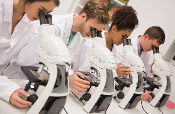 Médico estudantes trabalhando microscópio universidade homem Foto stock © wavebreak_media