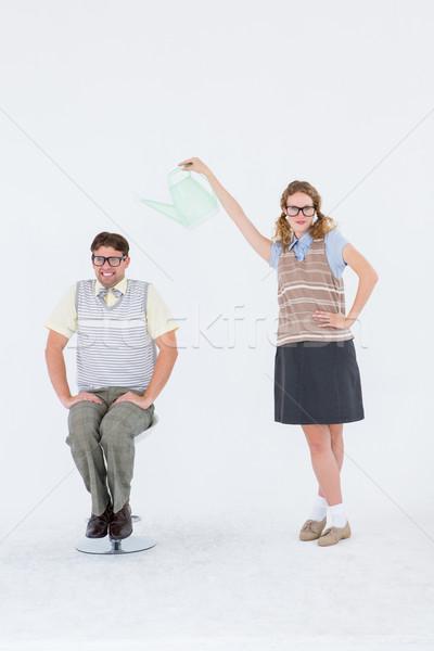 Hipszter tart locsolókanna fölött fiúbarát fehér Stock fotó © wavebreak_media
