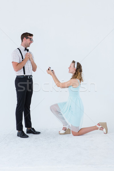 Hipster Frau Ehe Vorschlag Freund weiß Stock foto © wavebreak_media