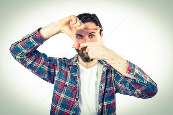 Guapo manos retrato dedo masculina Foto stock © wavebreak_media