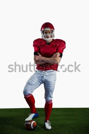 Portré amerikai futballista keresztbe tett kar futballpálya fű Stock fotó © wavebreak_media