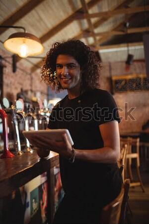 Portré gyönyörű női bár gyengéd áll Stock fotó © wavebreak_media