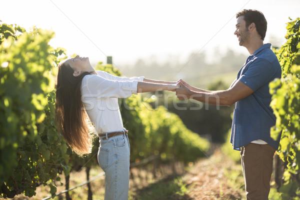 Boldog fiatal pér kéz a kézben szőlőskert napos idő mosoly Stock fotó © wavebreak_media