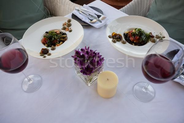 食品 ドリンク 務め 装飾された 表 レストラン ストックフォト © wavebreak_media