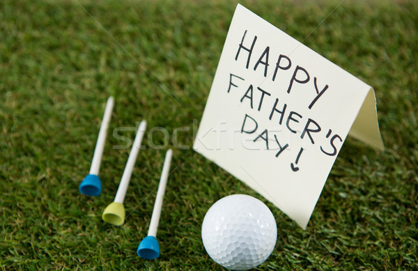 Greeting card with happy fathers day text by golf ball and tees on field Stock photo © wavebreak_media