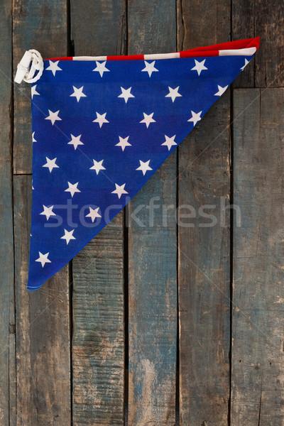 сложенный американский флаг деревянный стол флаг свободу Сток-фото © wavebreak_media
