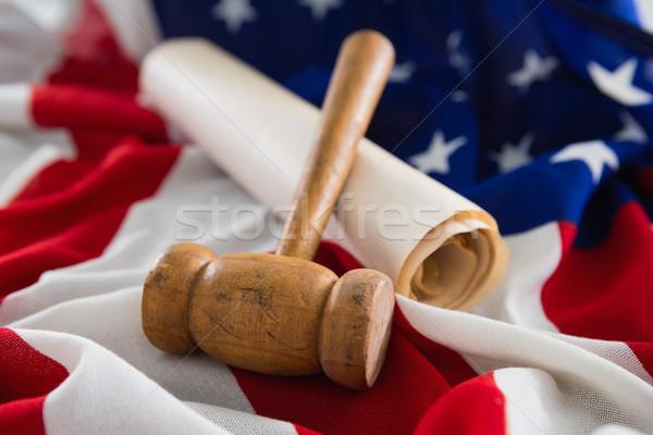 Stockfoto: Hamer · juridische · document · Amerikaanse · vlag · achtergrond