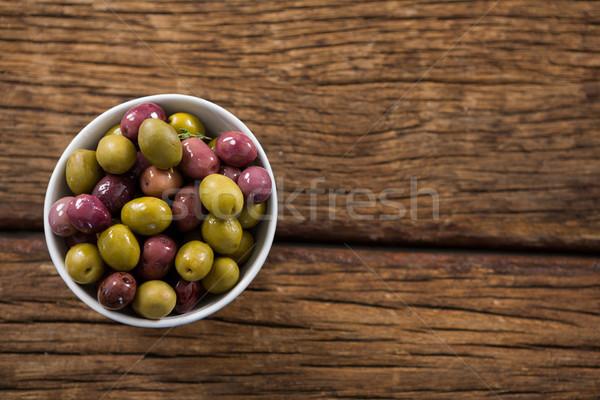 マリネ オリーブ 白 ボウル 木製のテーブル 食品 ストックフォト © wavebreak_media