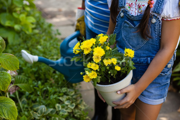 Supérieurs femme petite fille arrosoir fleur jaune Photo stock © wavebreak_media