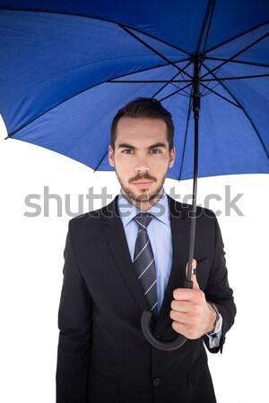 бизнесмен прикасаться невидимый экране белый бизнеса Сток-фото © wavebreak_media