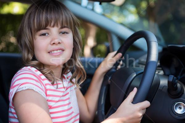 Feliz condução carro retrato menina Foto stock © wavebreak_media